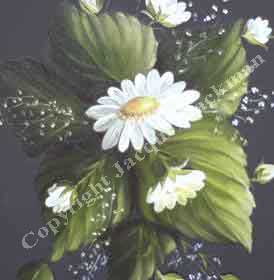 Tole Daisy and leaf oil painting