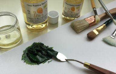 clear painting medium in use