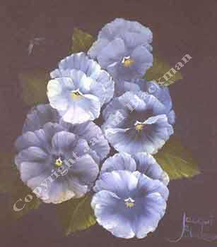 pansy flowers painted in oils wet-on-wet